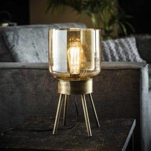 Tafellamp 4-poot amber glas / Brons antiek / Brons antiek. 8353/30 uit de tafellampen collectie van Bullcraft kleinmeubelen & verlichting bij Löwik Meubelen