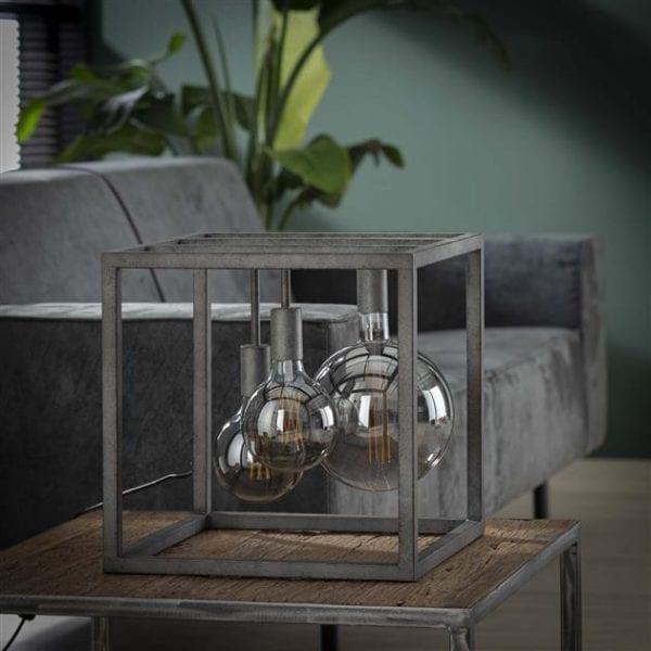 Tafellamp kubus XL frame vierkante buis / Oud zilver. 7768/29 uit de tafellampen collectie van Zijlstrakleinmeubelen & verlichting bij Löwik Meubelen