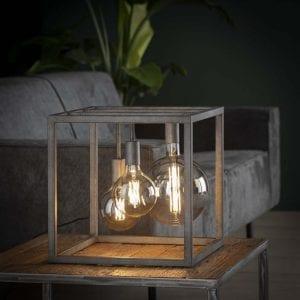 Tafellamp kubus XL frame vierkante buis / Oud zilver. 7768/29 uit de tafellampen collectie van Bullcraft kleinmeubelen & verlichting bij Löwik Meubelen
