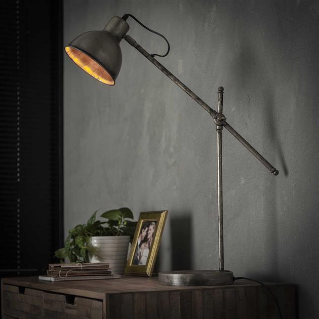 Tafellamp loft hinged - oud zilver