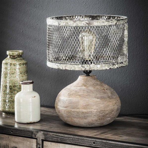 Tafellamp massief houten bolle voet / Verweerd koper. 8245/32V uit de tafellampen collectie van Zijlstrakleinmeubelen & verlichting bij Löwik Meubelen