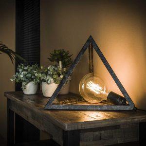 Tafellamp pyramide / Charcoal. 7926/76 uit de tafellampen collectie van Bullcraft kleinmeubelen & verlichting bij Löwik Meubelen