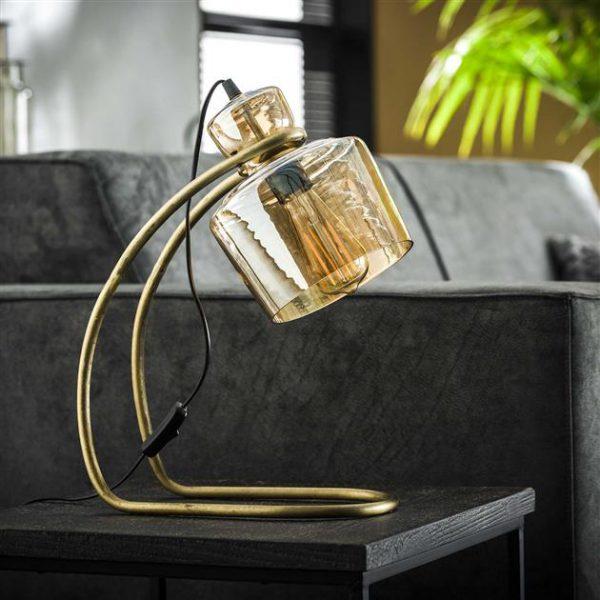 Tafellamp sledepoot amber glas / Brons antiek. 8351/30 uit de tafellampen collectie van Zijlstrakleinmeubelen & verlichting bij Löwik Meubelen