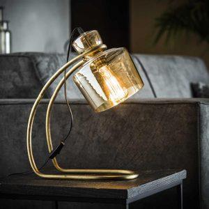 Tafellamp sledepoot amber glas / Brons antiek. 8351/30 uit de tafellampen collectie van Bullcraft kleinmeubelen & verlichting bij Löwik Meubelen