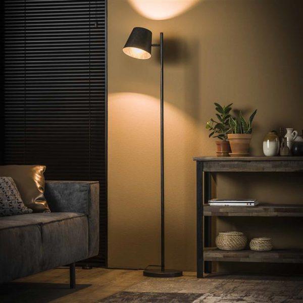 Vloerlamp 1L verstelbare metalen kap / Charcoal. 7945/76 uit de vloerlampen collectie van Bullcraft kleinmeubelen & verlichting bij Löwik Meubelen