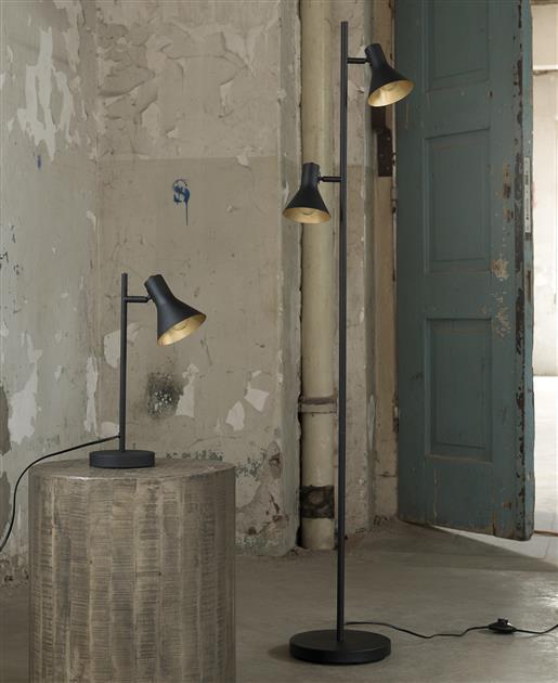 Vloerlamp 2L cup in matt black met gold inside. / Zwart. 8187/44 uit de vloerlampen collectie van Zijlstrakleinmeubelen & verlichting bij Löwik Meubelen