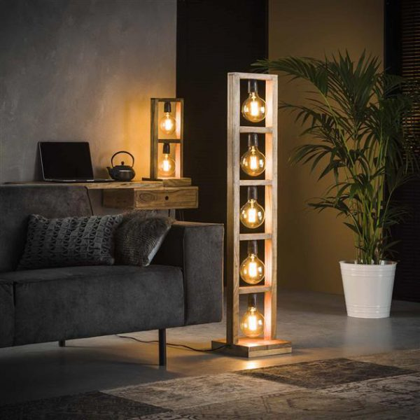 Vloerlamp 5L modulo houten frame / Massief acacia naturel. 8255/15 uit de vloerlampen collectie van Zijlstrakleinmeubelen & verlichting bij Löwik Meubelen
