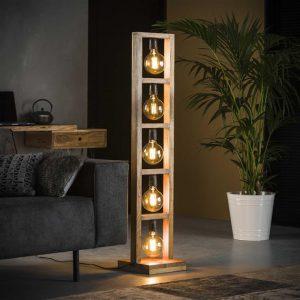 Vloerlamp 5L modulo houten frame / Massief acacia naturel. 8255/15 uit de vloerlampen collectie van Bullcraft kleinmeubelen & verlichting bij Löwik Meubelen