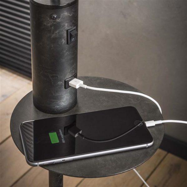 Vloerlamp USB oplader / Charcoal. 7996/76 uit de vloerlampen collectie van Zijlstrakleinmeubelen & verlichting bij Löwik Meubelen