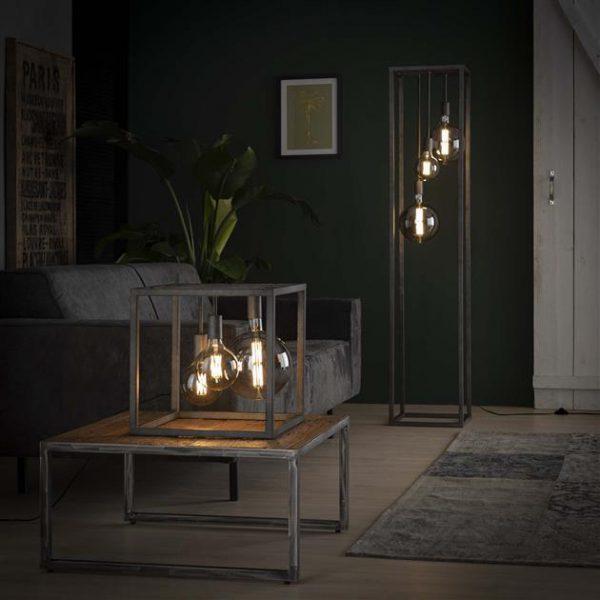 Vloerlamp pilar XL frame vierkante buis / Oud zilver. 7769/29 uit de vloerlampen collectie van Zijlstrakleinmeubelen & verlichting bij Löwik Meubelen