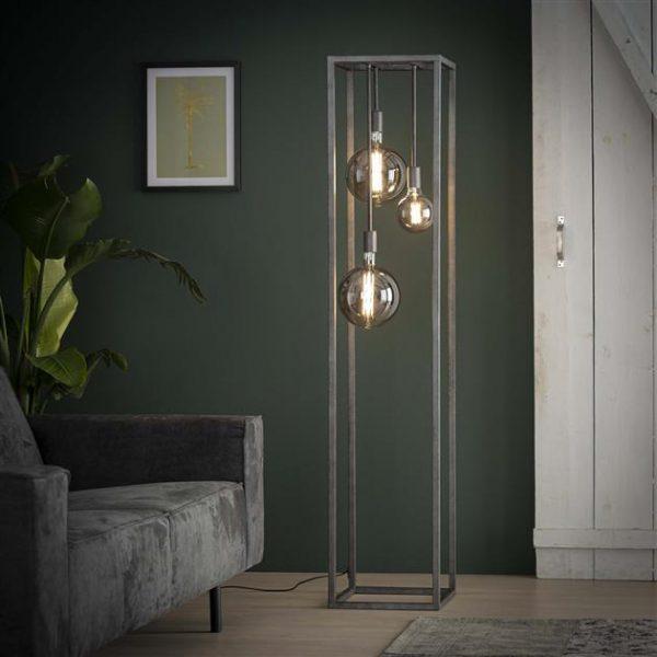Vloerlamp pilar XL frame vierkante buis / Oud zilver. 7769/29 uit de vloerlampen collectie van Bullcraft kleinmeubelen & verlichting bij Löwik Meubelen