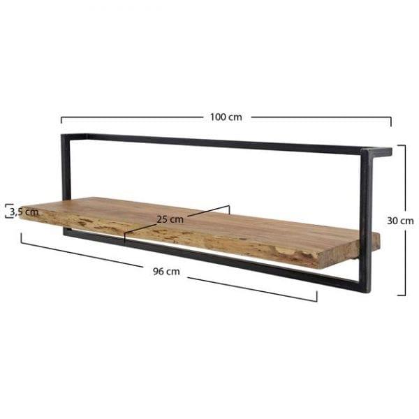 Wandplank edge 100cm / Massief acacia naturel. 2577/15 uit de wandplanken collectie van Zijlstrakleinmeubelen & verlichting bij Löwik Meubelen