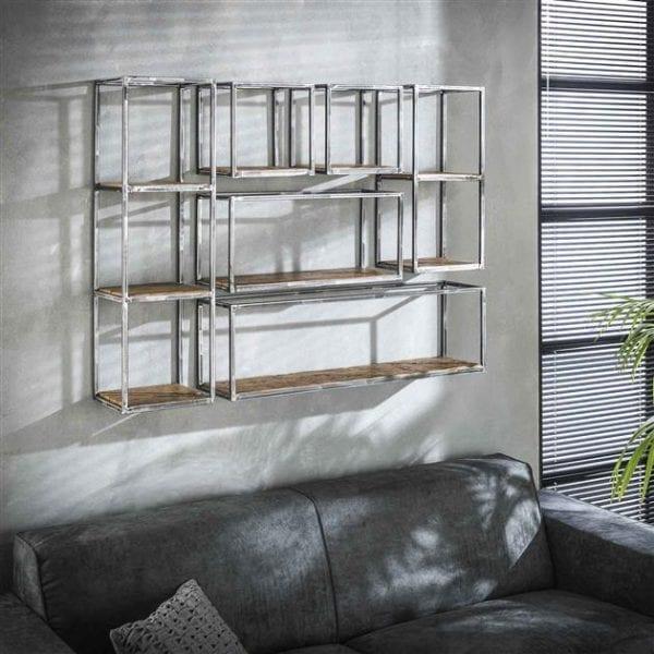 Wandschap grained hoog 100cm / Robuust hardhout. 2469/20 uit de wandplanken collectie van Zijlstrakleinmeubelen & verlichting bij Löwik Meubelen