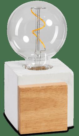 Cube tafellamp 1x E27 beton / hout - ETH verlichting - 05-TL3331-99