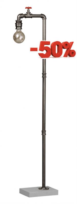 Fire Hose vloerlamp 1x E27 oud zilver - ETH verlichting - 05-VL8305-18