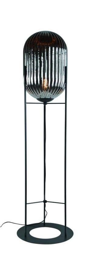 Glam--L vloerlamp 1x E27 H176 smoke ribbel glas dia 30cm / zwart - ETH verlichting - 05-VL8370-3036