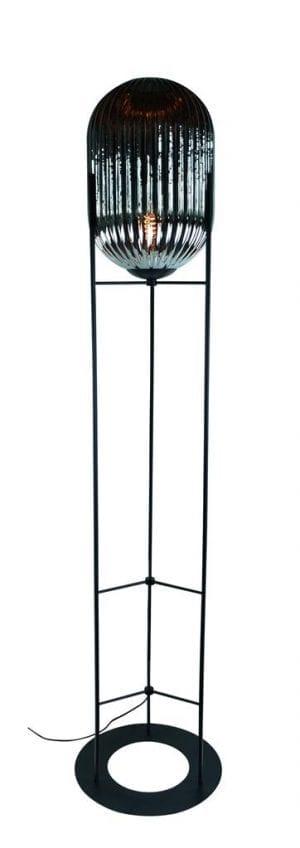Glam--S vloerlamp 1x E27 H136 smoke ribbel glas dia 30cm / zwart - ETH verlichting - 05-VL8369-3036
