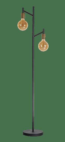 Tree vloerlamp 2 x E27 zwart / koper - ETH verlichting - 05-VL8316-3001