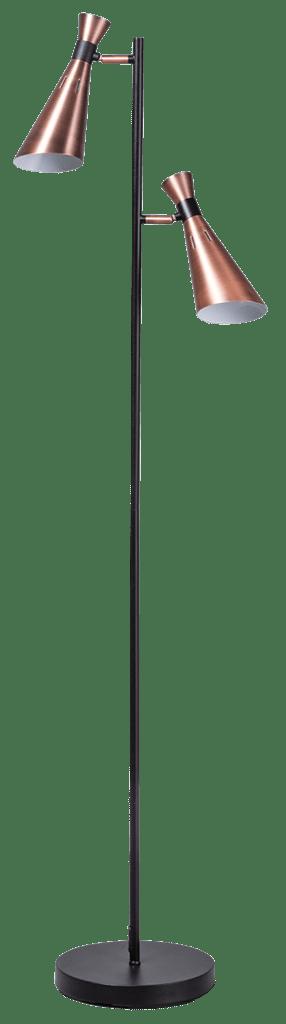 York vloerlamp 2x E14 zwart/koper - ETH verlichting - 05-VL8183-05