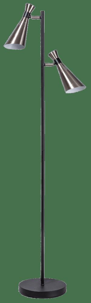 York vloerlamp 2x E14 zwart/staal - ETH verlichting - 05-VL8183-17