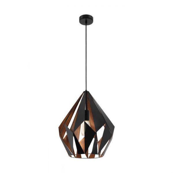 Carlton 1 hanglamp uit de lampen collectie van Eglo, schitterende lamp vervaardigd van staal, zwart, koper van kleur en passend bij vele interieurstijlen. De hanglamp is voorzien van een E27 fitting. Hanglamp Carlton 1 wordt geleverd exclusief lichtbron(nen).