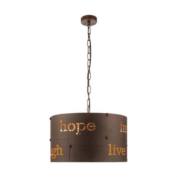 Coldingham hanglamp uit de hanglampen collectie van Eglo, verlichting voor een sfeervol thuis! Schitterende lamp vervaardigd uit metaal, roestkleuren van kleur en passend bij vele interieurstijlen. De hanglamp is voorzien van een E27 fitting. Hanglamp Coldingham wordt geleverd exclusief lichtbron(nen).