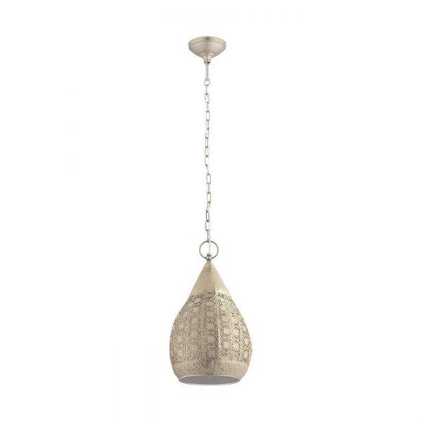Melilla hanglamp uit de lampen collectie van Eglo, schitterende lamp vervaardigd van staal, goud van kleur en passend bij vele interieurstijlen. De hanglamp is voorzien van een E27 fitting. Hanglamp Melilla wordt geleverd exclusief lichtbron(nen).