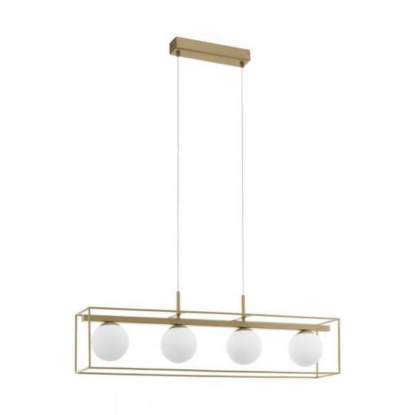 Vallaspra hanglamp uit de lampen collectie van Eglo, schitterende lamp vervaardigd van staal, champagne van kleur en passend bij vele interieurstijlen. De hanglamp is voorzien van een E14 fitting. Hanglamp Vallaspra wordt geleverd exclusief lichtbron(nen).