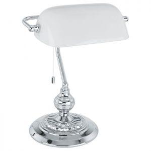 Banker Tafellampen uit de lampen collectie van Eglo, schitterende lamp vervaardigd van staal, chroom van kleur en passend bij vele interieurstijlen. De Tafellampen is voorzien van een E27 fitting. Tafellampen Banker wordt geleverd exclusief lichtbron(nen).