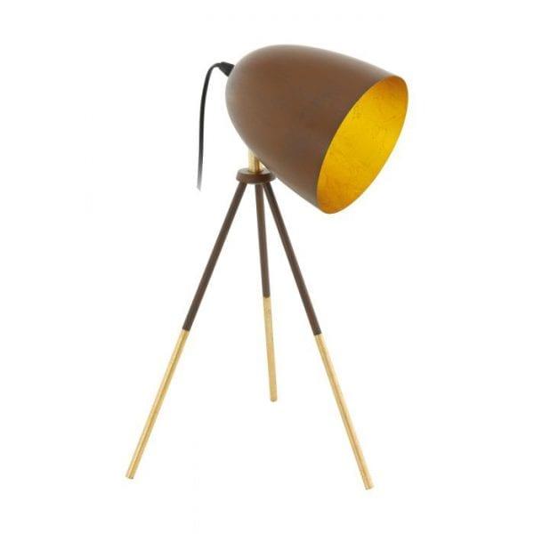 Chester 1 Tafellampen uit de lampen collectie van Eglo, schitterende lamp vervaardigd van staal, roestkleuren, goud van kleur en passend bij vele interieurstijlen. De Tafellampen is voorzien van een E27 fitting. Tafellampen Chester 1 wordt geleverd exclusief lichtbron(nen).