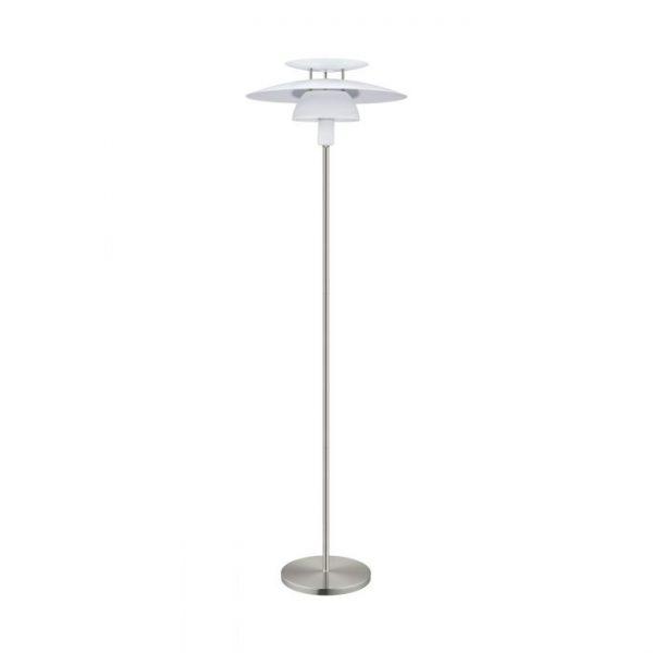 Brenda vloerlamp uit de vloerlampen collectie van Eglo, verlichting voor een sfeervol thuis! Schitterende lamp vervaardigd uit metaal, wit, nikkel-mat van kleur en passend bij vele interieurstijlen. De vloerlamp is voorzien van een E27 fitting. Vloerlamp Brenda wordt geleverd exclusief lichtbron(nen).