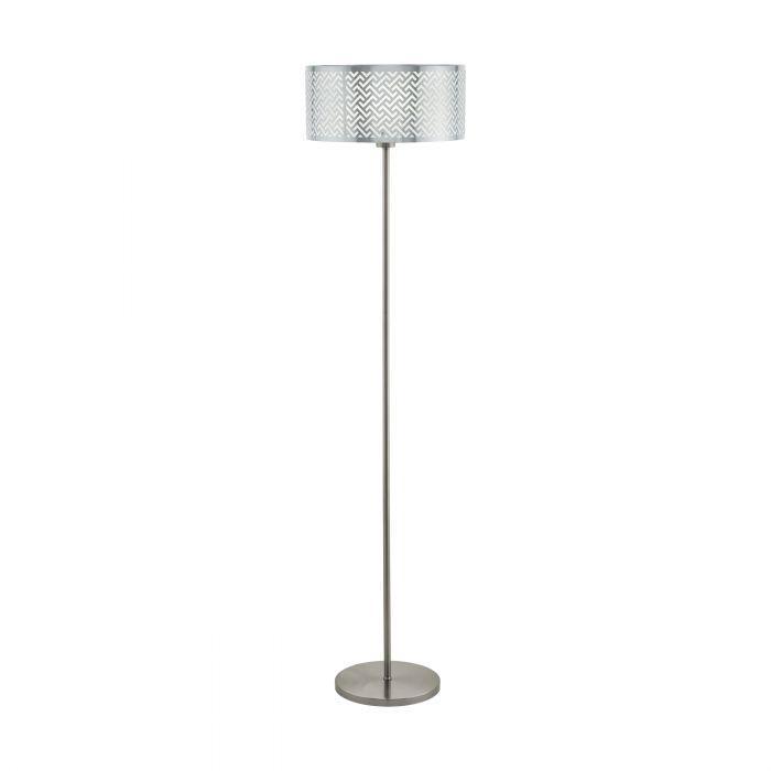 Leamington 1 vloerlamp - nikkel-mat, chroom
