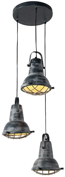 Iron raster hanglamp 3L grijs   Feelings Lowik Meubelen