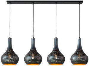 Punch kegel hanglamp 4L zwart bruin   Feelings Lowik Meubelen