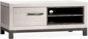 Spring tv-dressoir uit de Feelings collectie, uitgevoerd in Lamulux met metaal