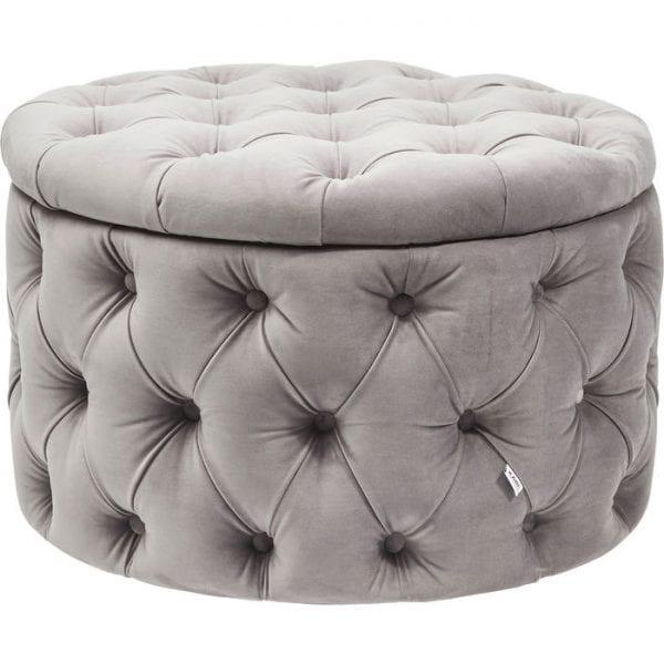Kare Design Chest Desire Round Velvet Silver seating 81041 - Lowik Meubelen