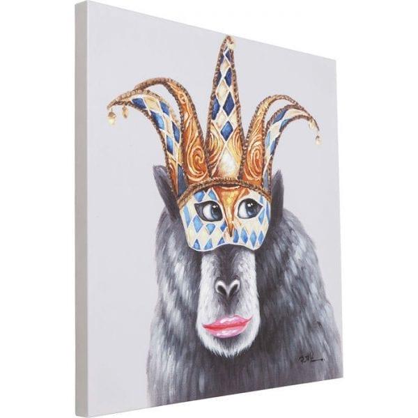 Schilderij Touched Carnival Monkey 70x70cm 65907 Afbeelding: Linnen vlas, Voorzijde: polyester, Frame: vuren massief hout Natuurlijk / onbehandeld, voor wandbevestiging Horizontaal, met de hand vervaardigd Kare Design