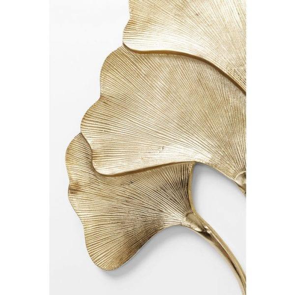 Wanddecoratie Ginkgo Gold Big 52095 Aluminium gepoedercoat, voor wandmontage Verticaal, met de hand vervaardigd Kare Design