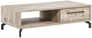 Salontafel Valada Uitgevoerd in de kleur natural parquet wood i.c.m. mat zwart metaal met 1 lade en 1 open vak.