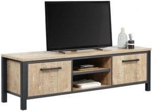 TV-meubel Mendiga Uitgevoerd in de kleur orange teak wood i.c.m. mat zwart metaal met 2 deuren en 2 open vakken.