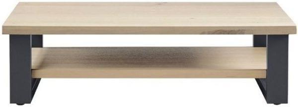 Salontafel Verato 140x70 natural grey uit de woonprogramma Pronto Wonen Lowik Meubelen Uitgevoerd in massief, robuust geborsteld eiken in de kleur 67.5 naturel grey en zwart metalen poten.