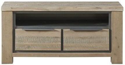 TV-Dressoir Robusto vintage grey uit de woonprogramma Pronto Wonen Lowik Meubelen Uitgevoerd in grotendeels massief acaciahout in de kleur vintage grey