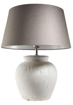 Tafellamp Stradella in keramiek wit/ lever kap_Accessoires_Pronto Wonenlowikmeubelen