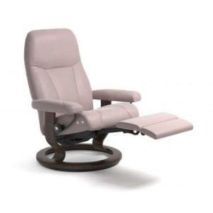 Stressless Consul relaxfauteuil - null Batick smoke rose - maatvoering M - Classic onderstel, LegComfort voetenbank - Lowik Wonen & Slapen fauteuil collectie