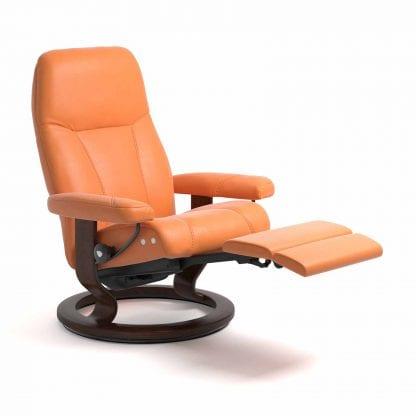 Stressless Consul relaxfauteuil - null Paloma apricot orange - maatvoering M - Classic onderstel, LegComfort voetenbank - Lowik Wonen & Slapen fauteuil collectie