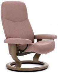 Stressless Consul relaxfauteuil - leder Batick smoke rose - maatvoering S - Classic onderstel - Lowik Wonen & Slapen fauteuil collectie
