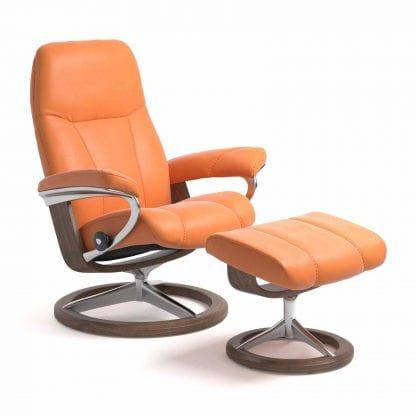 Stressless Consul relaxfauteuil - leder Paloma apricot orange - maatvoering S - Signature onderstel - Lowik Wonen & Slapen fauteuil collectie