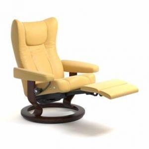 Stressless Wing relaxfauteuil - null Batick mimosa - maatvoering M - Classic onderstel, LegComfort voetenbank - Lowik Wonen & Slapen fauteuil collectie