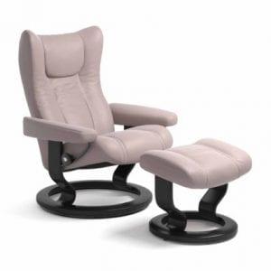 Stressless Wing relaxfauteuil - leder Batick smoke rose - maatvoering S - Classic onderstel - Lowik Wonen & Slapen fauteuil collectie