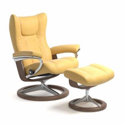 Stressless Wing relaxfauteuil - leder Batick mimosa - maatvoering S - Signature onderstel - Lowik Wonen & Slapen fauteuil collectie